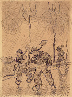 Agronomy Painting - Three Men Shouldering Spades On A Road In The Rain, 1890 by Vincent Van Gogh