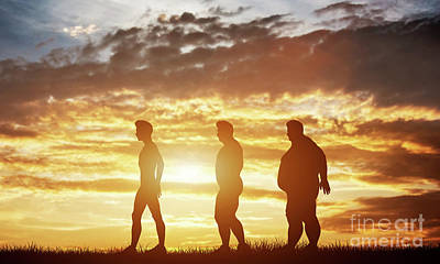 Movies Star Paintings - Three men silhouettes with different body types on a sunset sky by Michal Bednarek