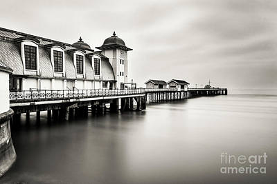 Three Minutes At Penarth Pier Mono Print by Steve Purnell