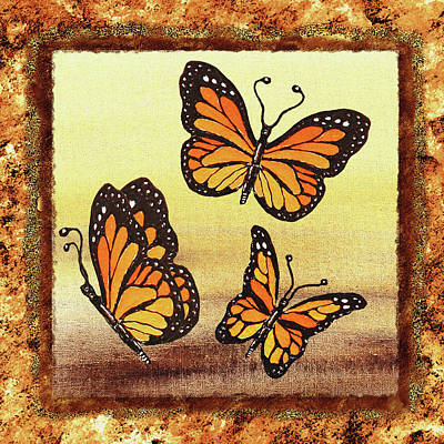 Painting - Three Monarch Butterflies by Irina Sztukowski