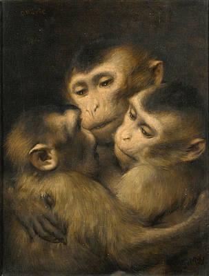 Three Monkeys Painting - Three Monkeys by Gabriel von Max