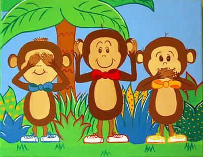 Three Monkeys No Evil Art Print