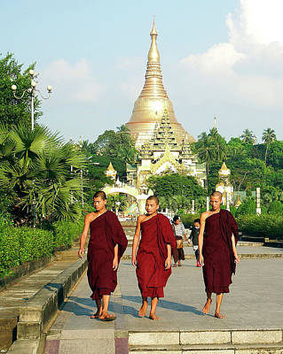 Photograph - Three Monks At Shwedagon Pagoda by Kurt Van Wagner