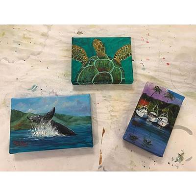 Artist Wall Art - Photograph - Three New Miniature Paintings I Did by Darice Machel McGuire