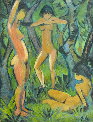 German Art Painting - Three Nudes In The Forest by Otto Mueller