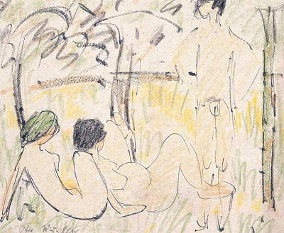 Expressionism Drawing - Three Nudes by Otto Mueller