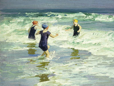 People On Beach Wall Art - Painting - Three Of A Kind by Edward Henry Potthast