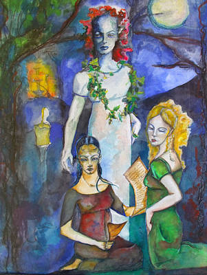 Three Of Cups Art Print by Erika Brown