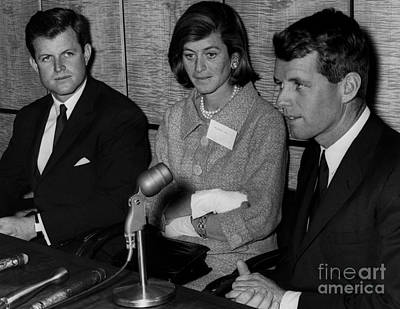 Ted Kennedy Photograph - Three Of The Kennedy Sibings Edward, Eunice, And Robert Kennedy. 1964 by William Jacobellis