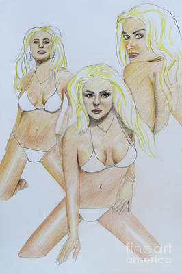 Selection Drawing - Three Of The Same by Stephen Brooks
