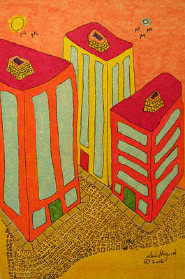 Painting - Three Office Towers by Lew Hagood
