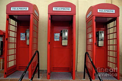 Three Old-fashioned Public Telephone Boxes In Gibraltar Art Print