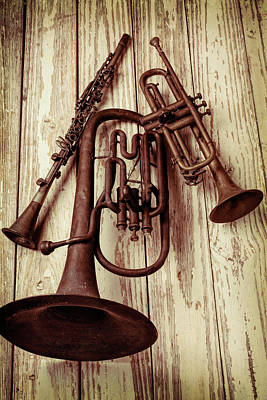 Trumpet Photograph - Three Old Horns by Garry Gay