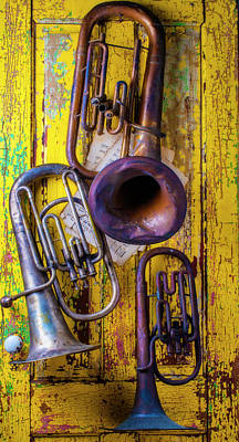 Tuba Wall Art - Photograph - Three Old Tubas by Garry Gay