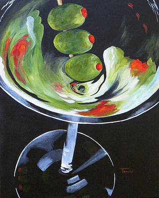 Martini Painting - Three Olive Martini Iv  by Torrie Smiley
