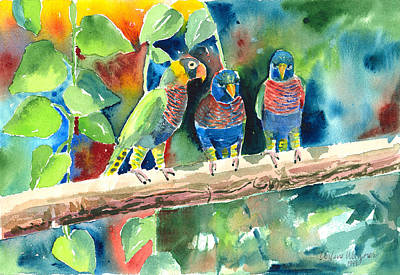 Three On A Branch Art Print by Arline Wagner
