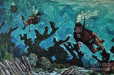 Stainglass Painting - Three On A Reef by John Malone