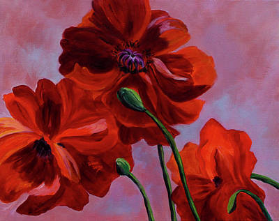 Painting - Three Oriental Poppies by Donna Drake