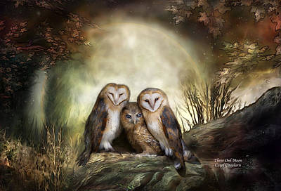 Wildlife Mixed Media - Three Owl Moon by Carol Cavalaris