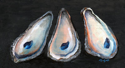 Mother Of Pearl Painting - Three Oyster Shells by Elaine Hodges