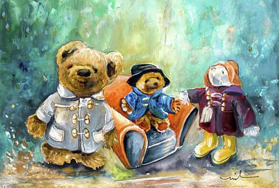 Painting - Three Paddingtons At Newby Hall by Miki De Goodaboom