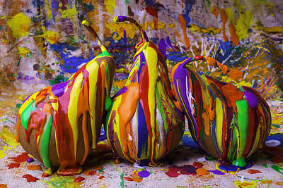 Mess Photograph - Three Painted Pears by Garry Gay