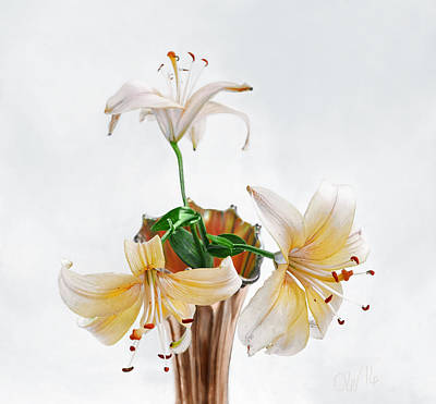 Photograph - Three Pale Gold Lilies Still Life by Louise Kumpf