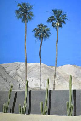 Three Palms, Four Cacti Original