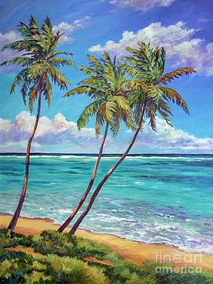 Caribbean Sea Painting - Three Palms by John Clark