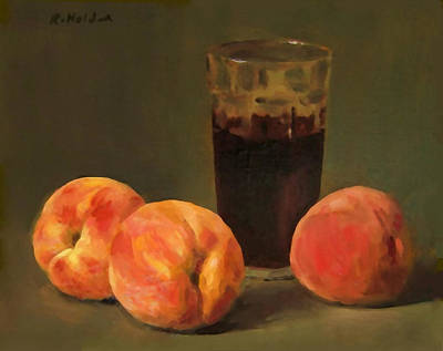 Painting - Three Peaches And Wine by Robert Holden
