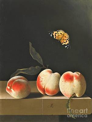 Painting - Three Peaches On Ledge by Pg Reproductions