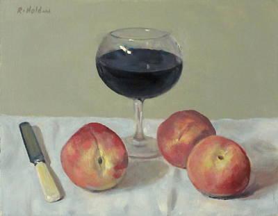 Three Peaches, Wine And Knife Art Print
