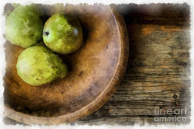 Wooden Bowls Photograph - Three Pear Still Life by Edward Fielding
