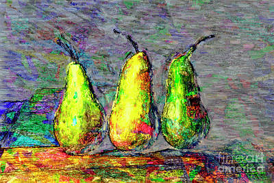 Abtracts Digital Art - Three Pears-2 by Dorothy Johnston