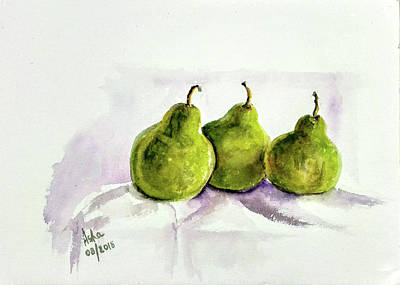 Painting - Three Pears by Asha Sudhaker Shenoy