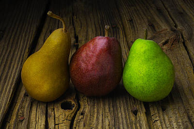 Pear Photograph - Three Pears by Garry Gay