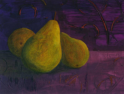 Mixed Media - Three Pears by Mary Elizabeth Thompson