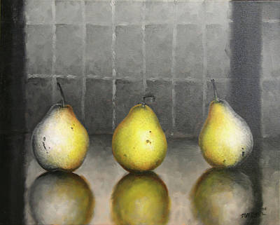 Painting - Three Pears by Matthew Martelli