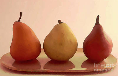 Realism Photograph - Three Pears On A Plate by Linda  Parker