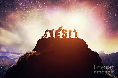 Photograph - Three People And Yes Writing On The Peak Of A Mountain. by Michal Bednarek