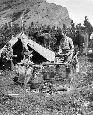 Three People Camping, C.1920-30s Art Print