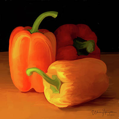 Painting - Three Peppers 01 by Wally Hampton