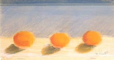 Painting - Three Persimmons Study by Mary Erbert