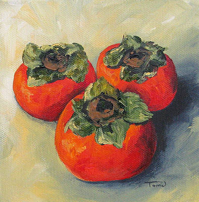 Persimmon Painting - Three Persimmons by Torrie Smiley