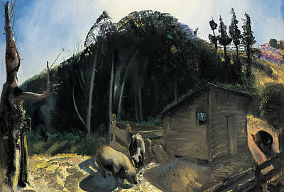 Farmyard Animals Painting - Three Pigs And A Mountain by George Wesley Bellows