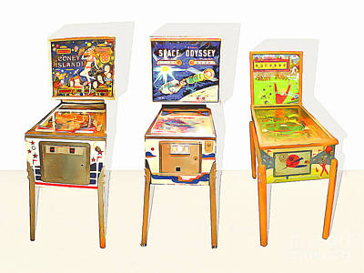 Photograph - Three Pinball Machines 20160226 by Wingsdomain Art and Photography