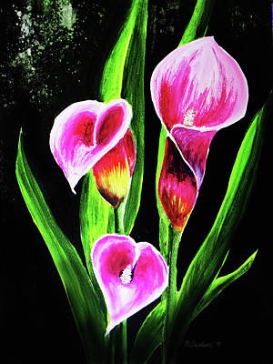 Art Print featuring the painting Three Pink Calla Lilies. by Patricia L Davidson