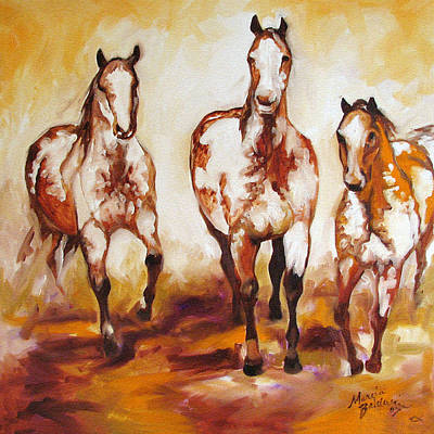 Comic Character Paintings - Three Pinto Indian Ponies by Marcia Baldwin