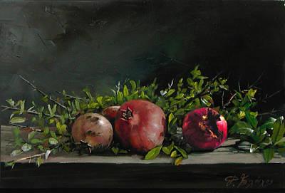 Painting - Three Pomegranates by Demetrios Vlachos