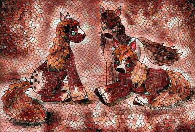 Digital Art - Three Pony Mosaic by Megan Walsh